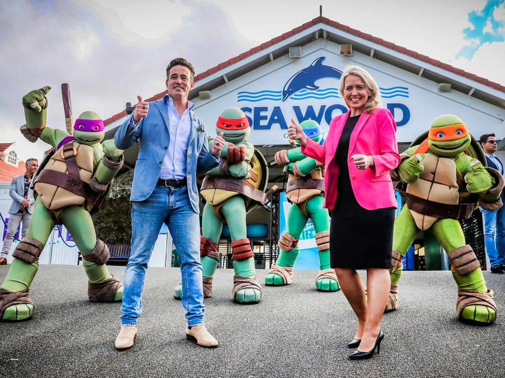 Village Roadshow CEO Clark Kirby (right) pictured with State Development Minister Kate Jones. Picture: Nigel Hallett