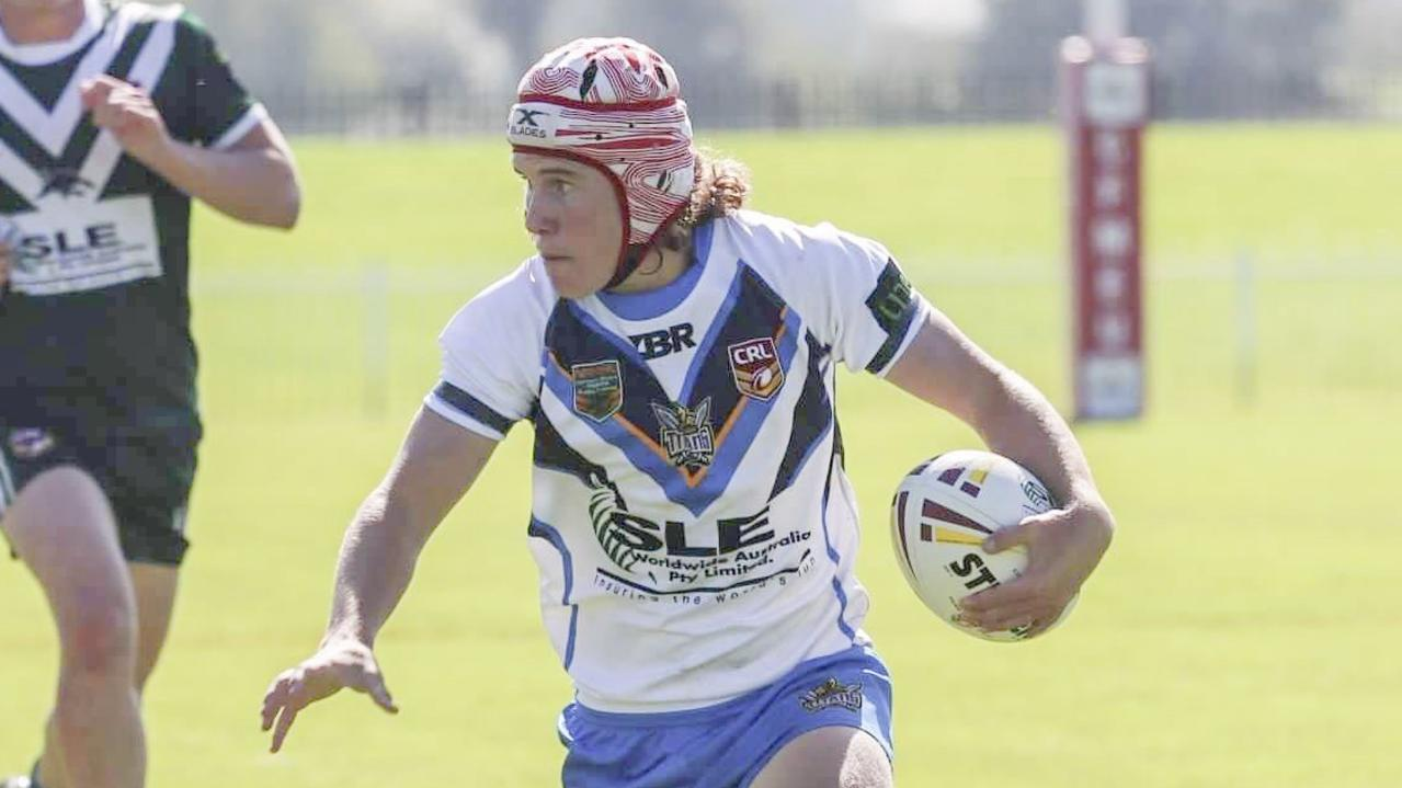 South Grafton Rebels junior Jordan Gallagher in action for the Northern Rivers Titans during the 2019 Andrew Johns Cup final in Mudgee against Western Rams.