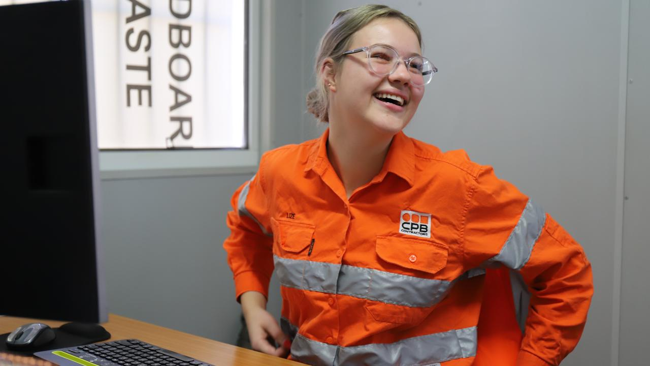 Lize Van Der Berg, 18, has worked on two of Mackay's biggest projects, the Mackay Ring Road and the Mackay Northern Access Upgrade, since graduating. Picture: Ashley Pillhofer.