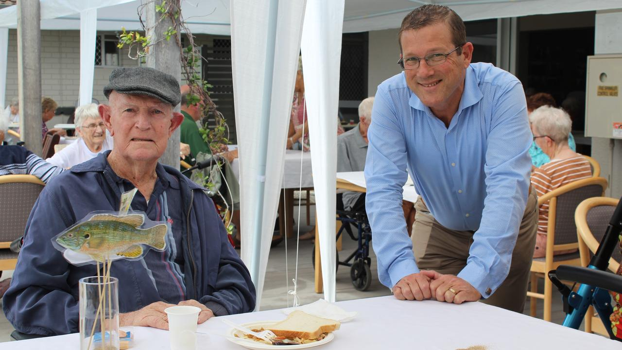 FATHER'S DAY: Kevin Stokes and Member for Bundaberg David Batt. Photo: Geordi Offord.