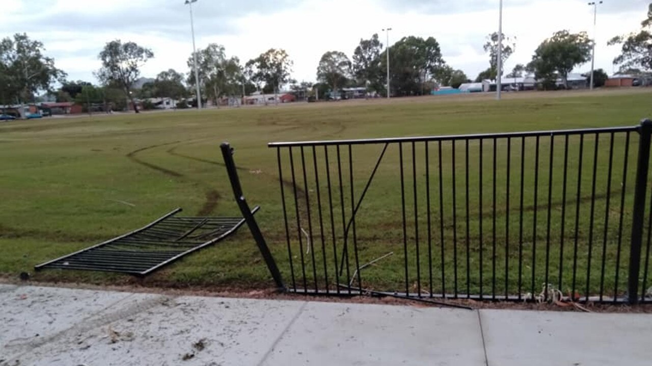 Fencing was knocked down at the park.