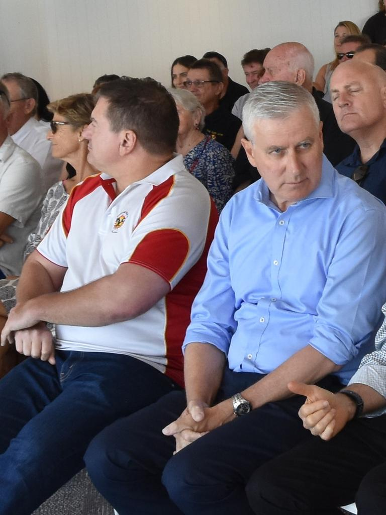 Member for Wide Bay Llew O'Brien and Deputy Prime Minister Michael McCormack forced a united front at the official opining of Sunshine Beach Surf Lifesaving Club. Photo: Caitlin Zerafa