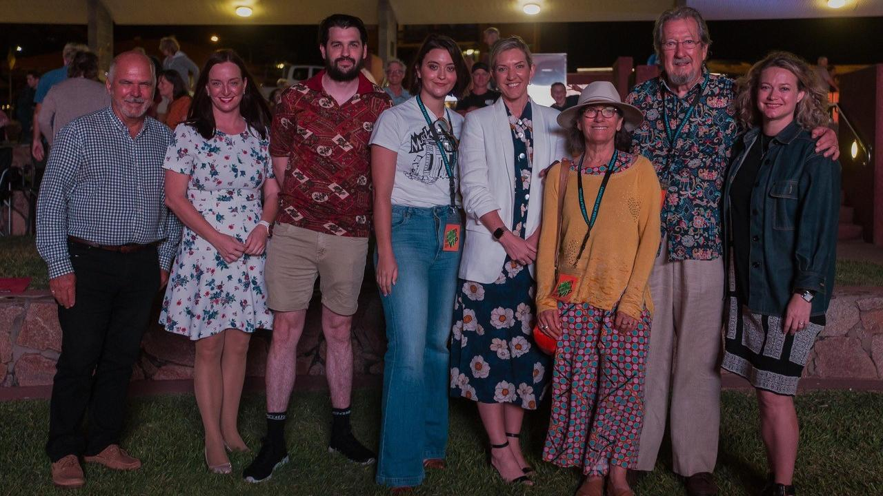 Former Livingstone Shire Council Mayor Bill Ludwig with Member for Keppel Brittany Lauga meet with Aussie actor Michael Caton and others associated with the Capricorn Film Festival at a previous edition of the festival.