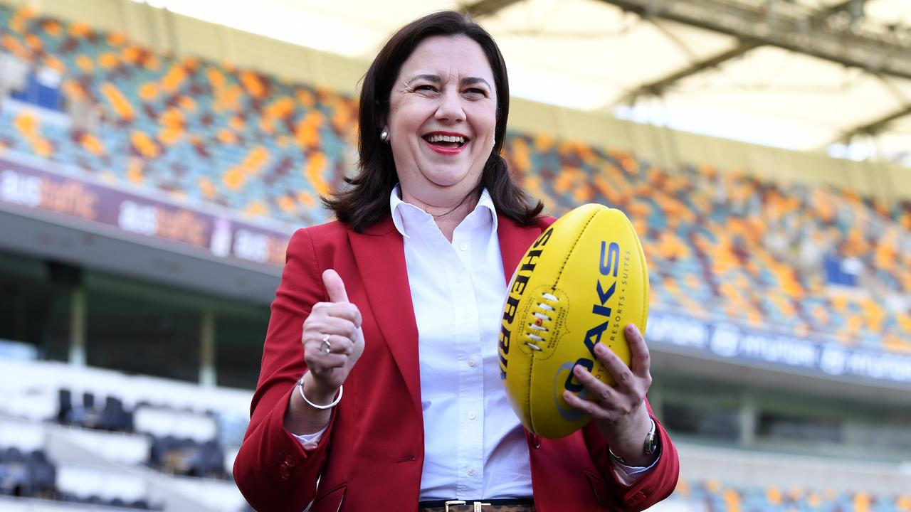 Queensland Premier Annastacia Palaszczuk poses for a photo during the announcement on Wednesday that the 2020 AFL Grand Final game will be played at the Gabba. Picture: NCA NewWire / Dan Peled