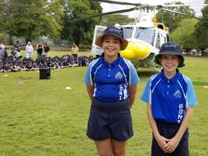 Students 'in awe' as helicopter lands at Rocky school