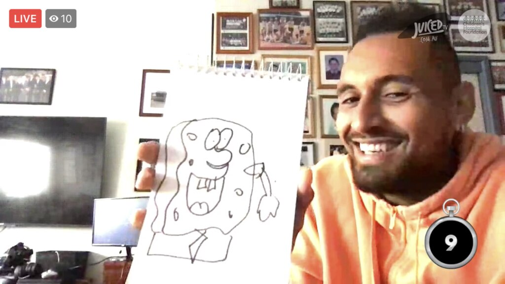 Nick Kyrgios draws SpongeBob Squarepants during a virtual visit to the Queensland Children's Hospital on Wednesday. Picture: Juiced TV