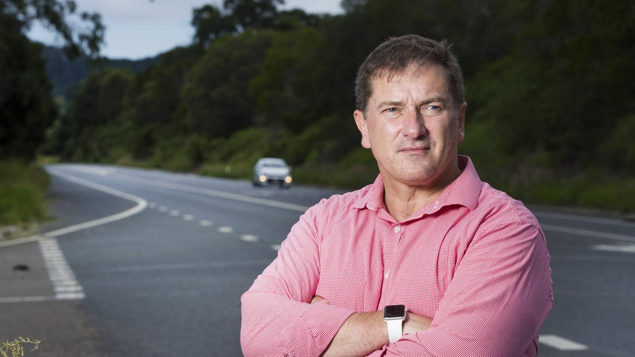 Federal MP and Former Policeman Llew O'Brien who suffers from PTSD from years of being a First Responder to road crash fatalities along notorious stretches of the Old Bruce Highway. Mr O'Brien refuses to accept plans for a two-lane bypass of Tiaro on the Bruce Highway.Photo Lachie Millard