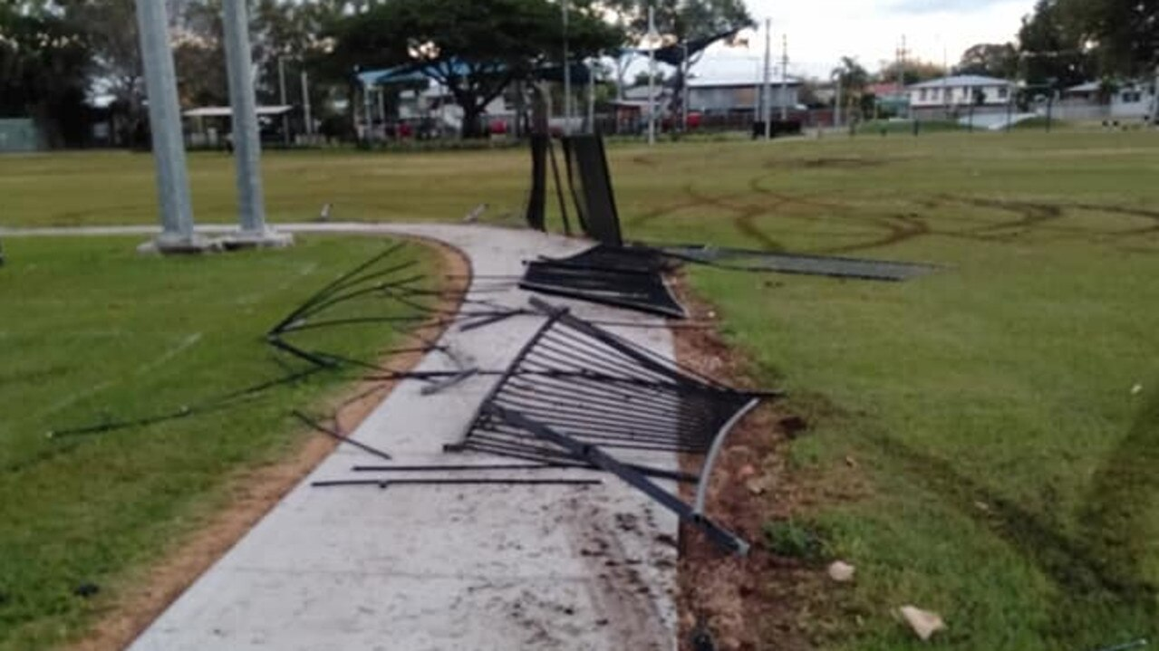 More than 30m of fencing was destroyed when three stolen cars damaged the grounds of a Heatley park.