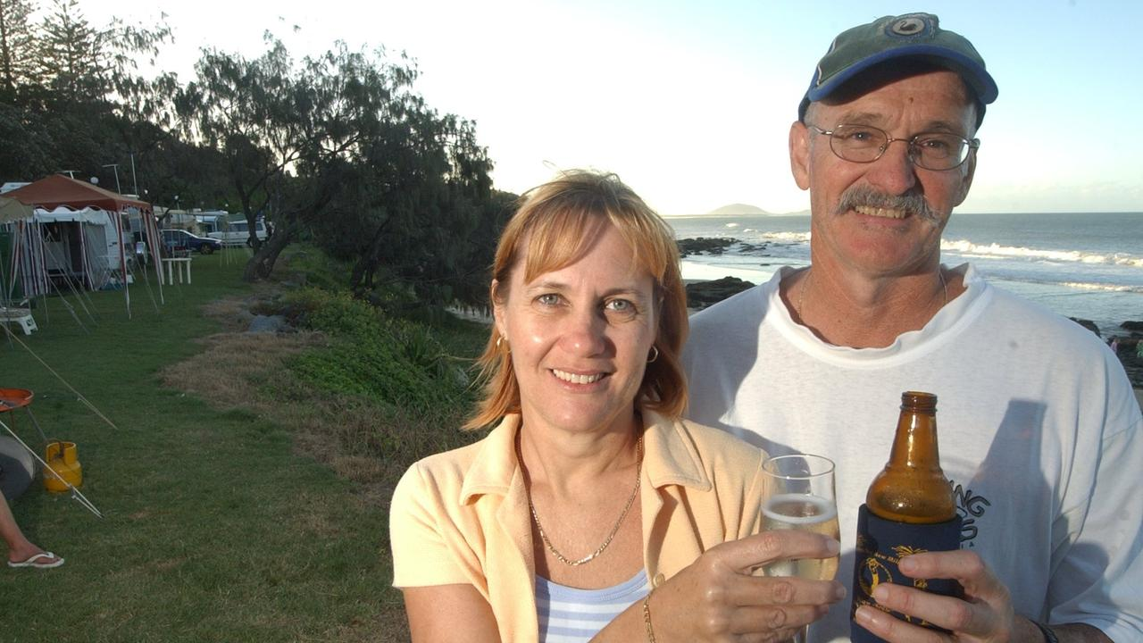 Julie and Shane Bridley of Mooloolaba pictured at the Mooloolaba Esplanade Caravan Park for the Easter holidays in 2003. Shane lost his battle with skin cancer on Saturday.