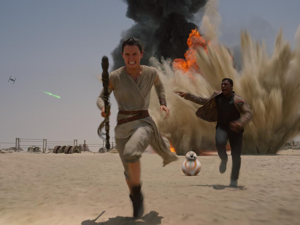 Boyega featured more prominently in The Force Awakens.