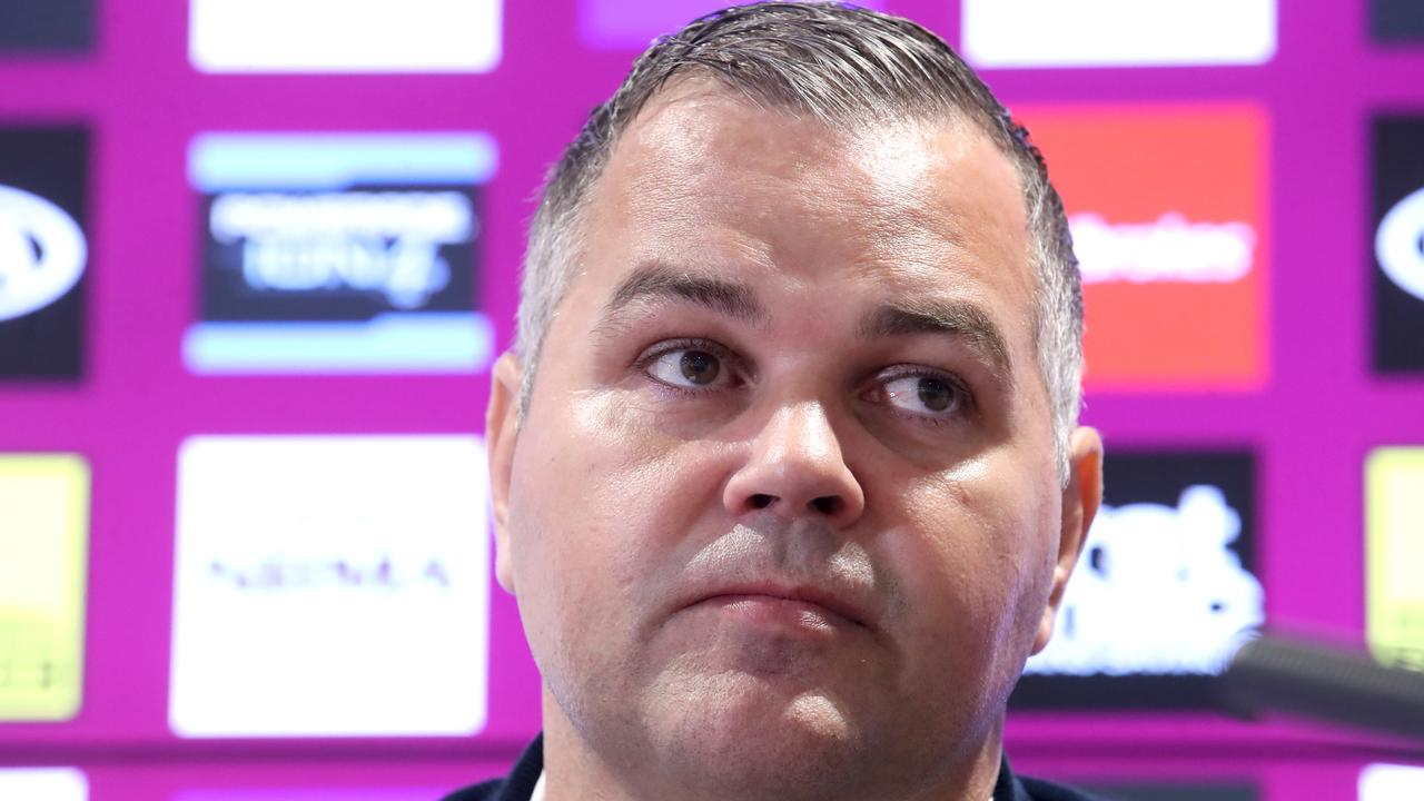 BRISBANE, AUSTRALIA - AUGUST 26: Brisbane coach Anthony Seibold speaks to the media during a Brisbane Broncos NRL media opportunity at the Clive Berghofer Centre on August 26, 2020 in Brisbane, Australia. (Photo by Jono Searle/Getty Images)