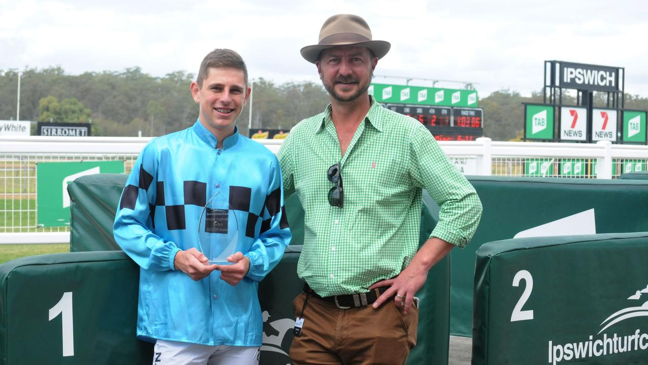 Winning jockey Baylee Nothdurft with Ipswich Turf Club committee member Trent Quinn at today's Ipswich race meeting. Picture: Claire Power