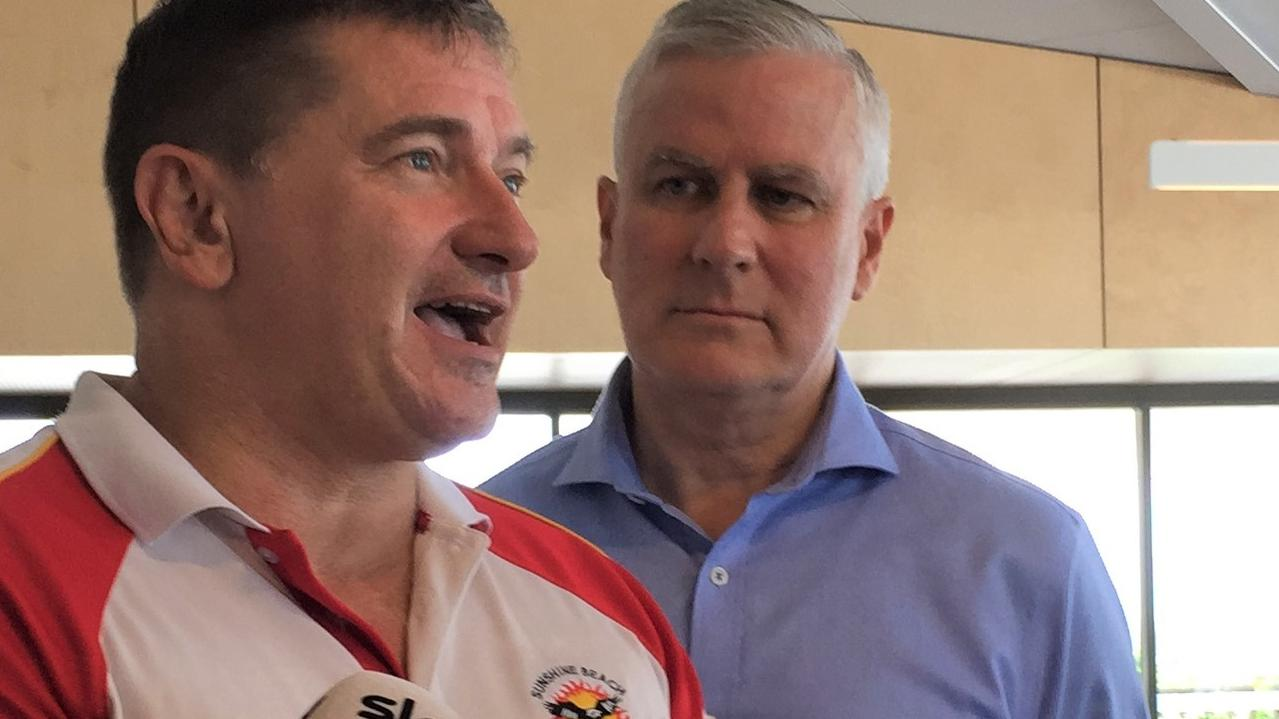 FEDERAL FEUD: Member for Wide Bay Llew O'Brien and Deputy Prime Minister Michael McCormack forced a united front at the official opining of Sunshine Beach Surf Lifesaving Club. Photo: Caitlin Zerafa
