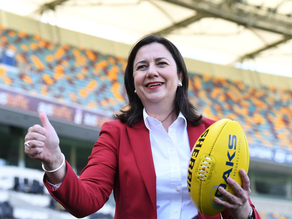 It's a big thumbs up for AFL players but Queensland Premier Annastacia Palaszczuk has slammed the border shut to others. Picture: NCA NewsWire/Dan Peled
