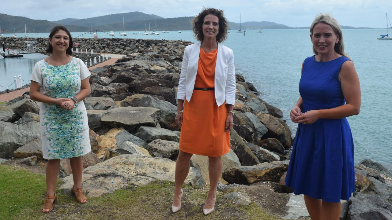 Tourism Whitsundays CEO Tash Wheeler, Whitsunday Labor candidate Angie Kelly and Tourism Minister Kate Jones made the announcement in Airlie Beach yesterday.