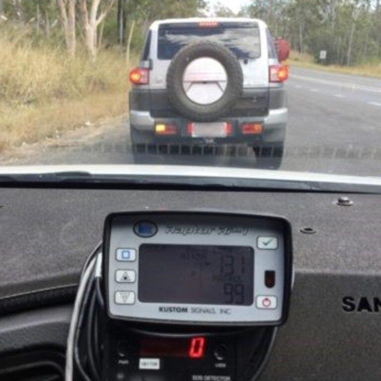 Police captured this alleged speedster on the Peak Downs Highway.