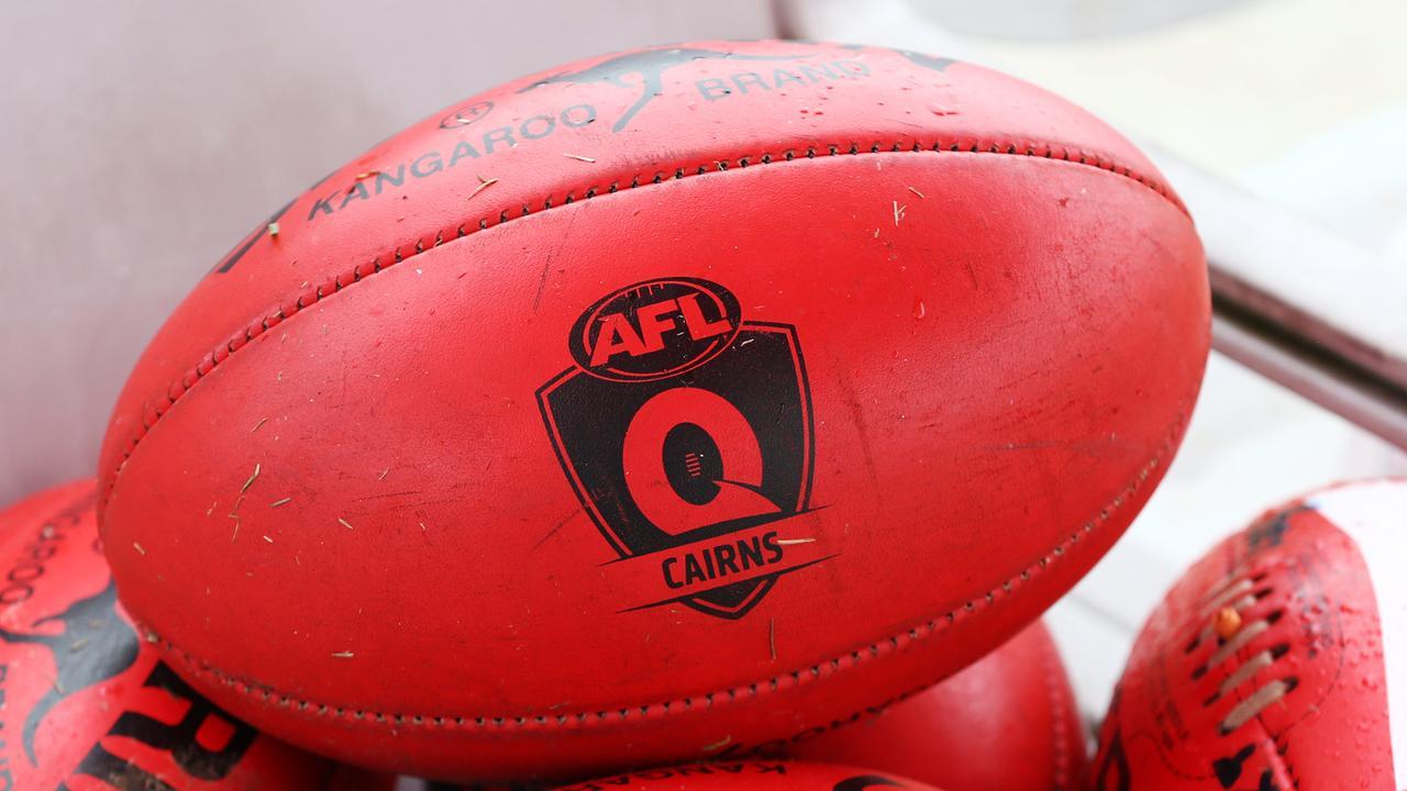 AFL Cairns branded Sherrin footballs. PICTURE: BRENDAN RADKE.