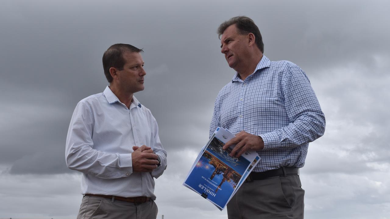 Member for Bundaberg David Batt and Member for Burnett Stephen Bennett at the Bundaberg port.