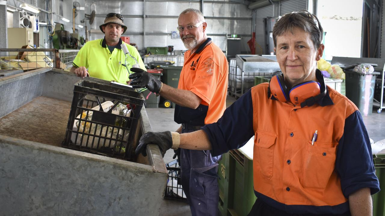 CONTAINERS FOR CHANGE: David Ross, Chris Smith and Lee Davey at IMPACT's Container Refund Point. Photo: Contributed.