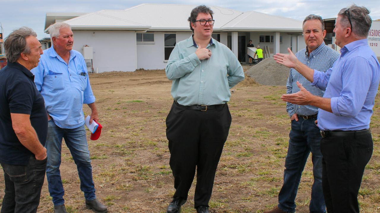 Dawson MP George Christensen (centre) meeting with Gemini Homes owner Graeme Stritzke, Kerrisdale Development's Lawrie Shuttlewood, Mackay LNP candidate Chris Bonanno and iSell Mackay real estate agent Dale O'Riely to discuss concerns over the $25k HomeBuilder grant. Picture: Contributed