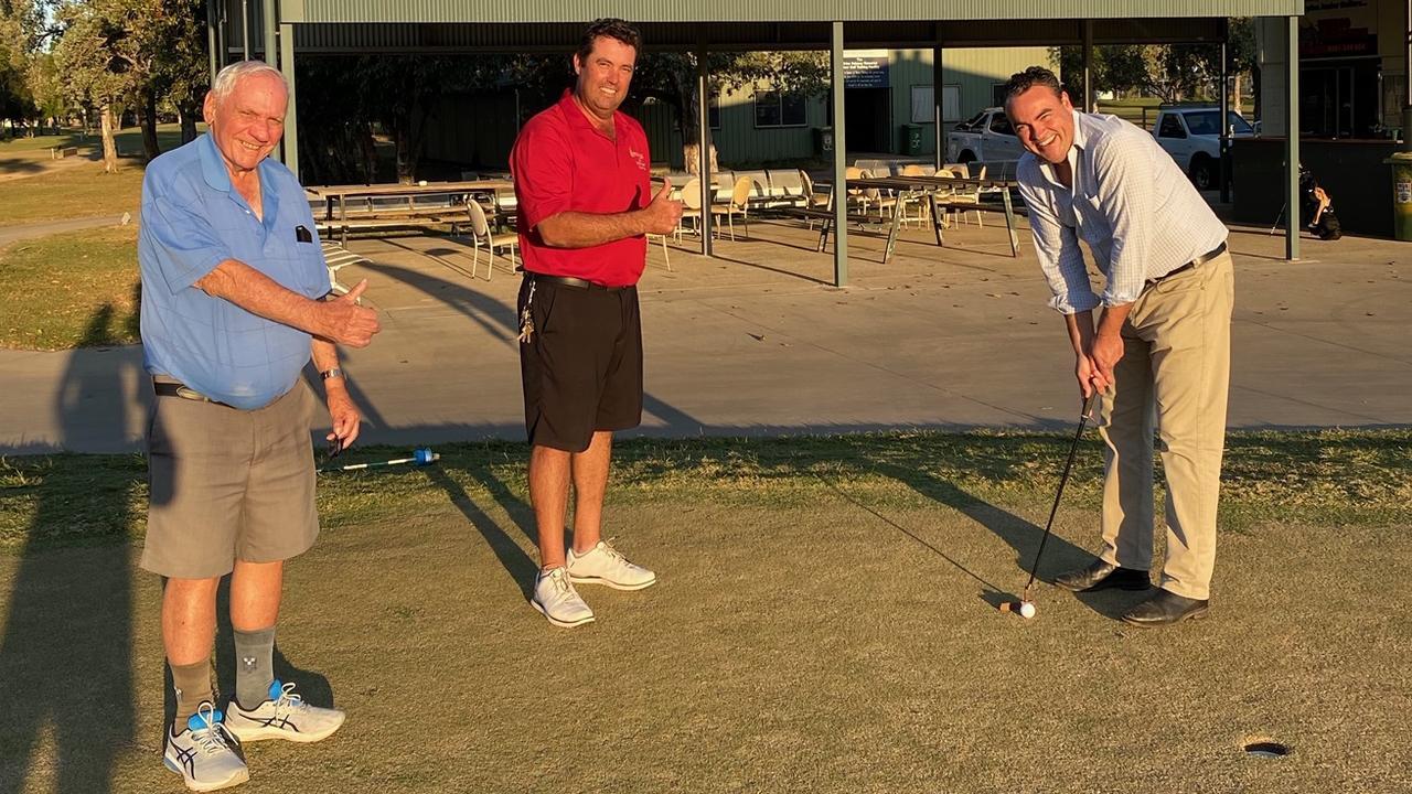 Proserpine Golf Club captain Peter Lewis, golfer Roger Vandenberg and Whitsunday MP Jason Costigan.