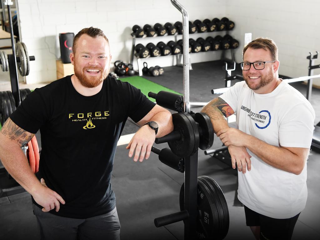 Abe Walton and Grant Mealey ready for Sunshine Coast Strength to open on Saturday, September 12. Photo Patrick Woods / Sunshine Coast Daily.