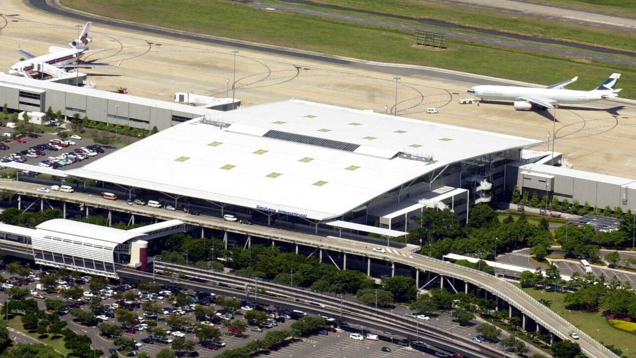 Aerial view of Brisbane city, including Brisbane airport international terminal pic Lyndon Mechielsen 13/2/04