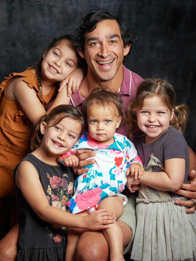 Retired rugby league legend Johnathan Thurston and his daughters. Picture: Scott Radford-Chisholm