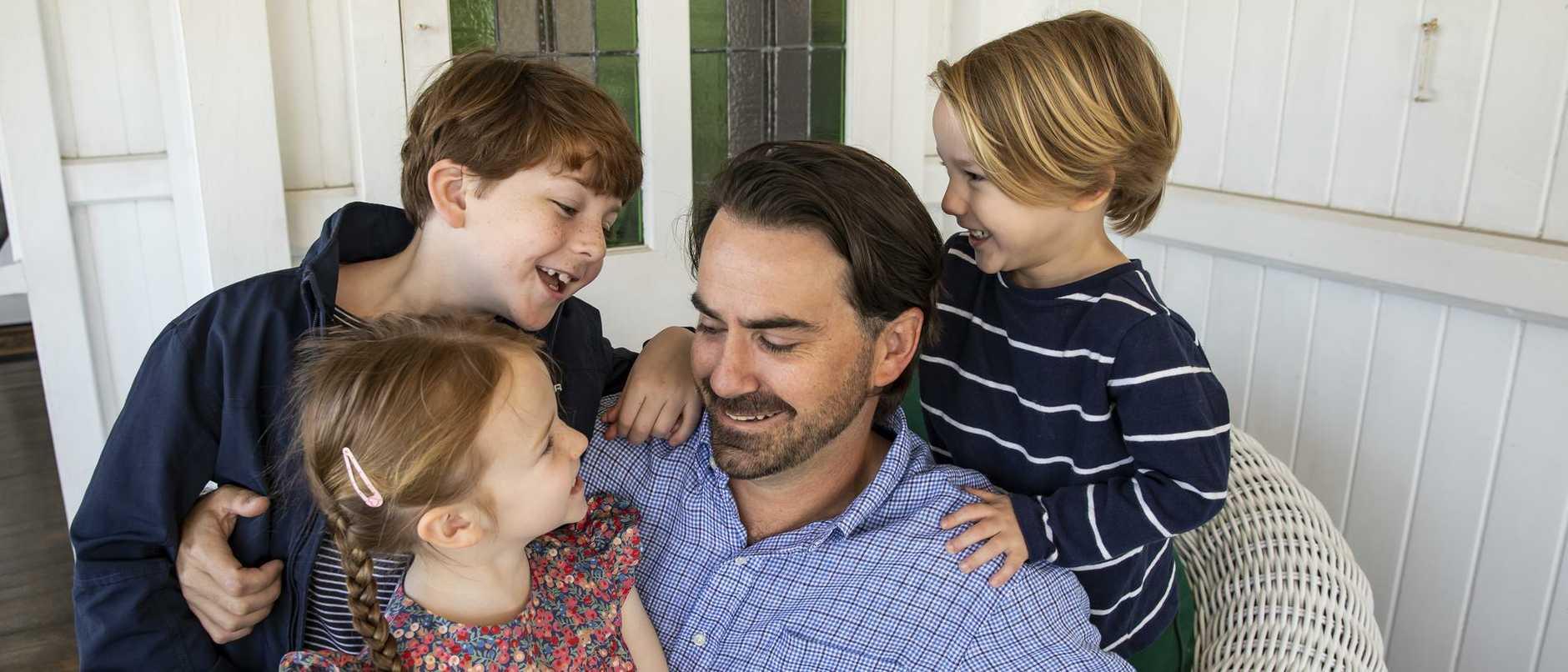 Murray Davis with children: Albert, 9, Josephine, 6 and Edward, 4. Picture: Mark Cranitch