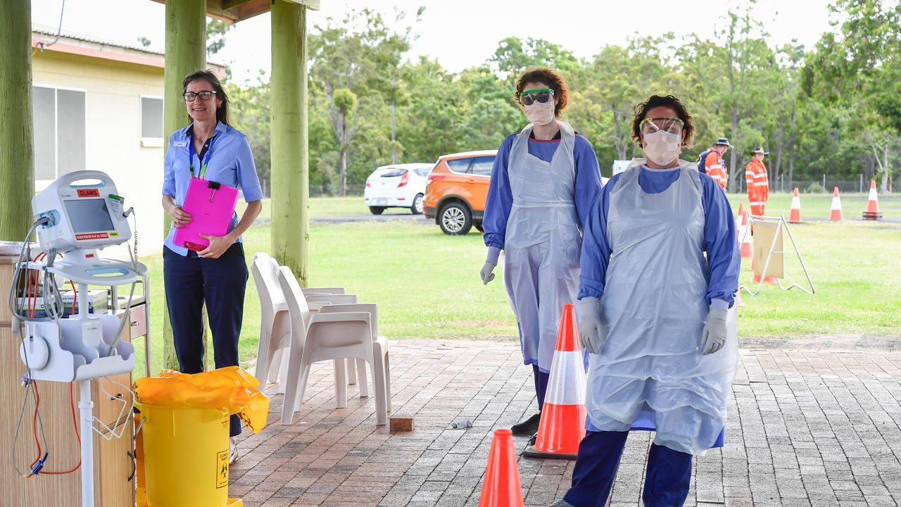 Admin officer Michelle Mills with nurses Nicole Knowles and Rabecca Goddard on the front line at the Fever Clinic.