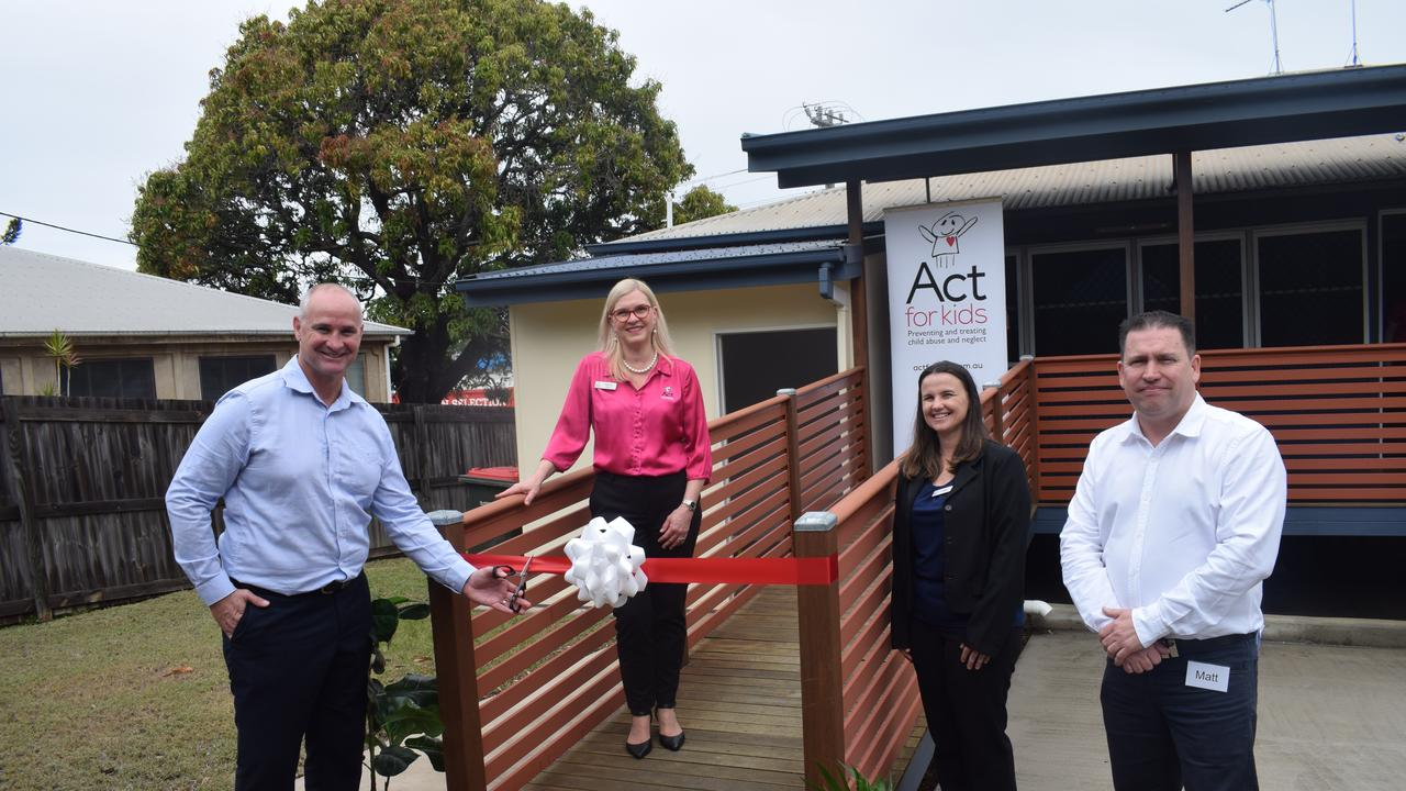 Member for Gladstone Glenn Butcher, Gladstone Region Mayor Matt Burnett and Act for Kids Chief Executive Officer Dr Katrina Lines officially opened Act for Kids, a specialist therapy service for children who have been sexually abused and assaulted today.