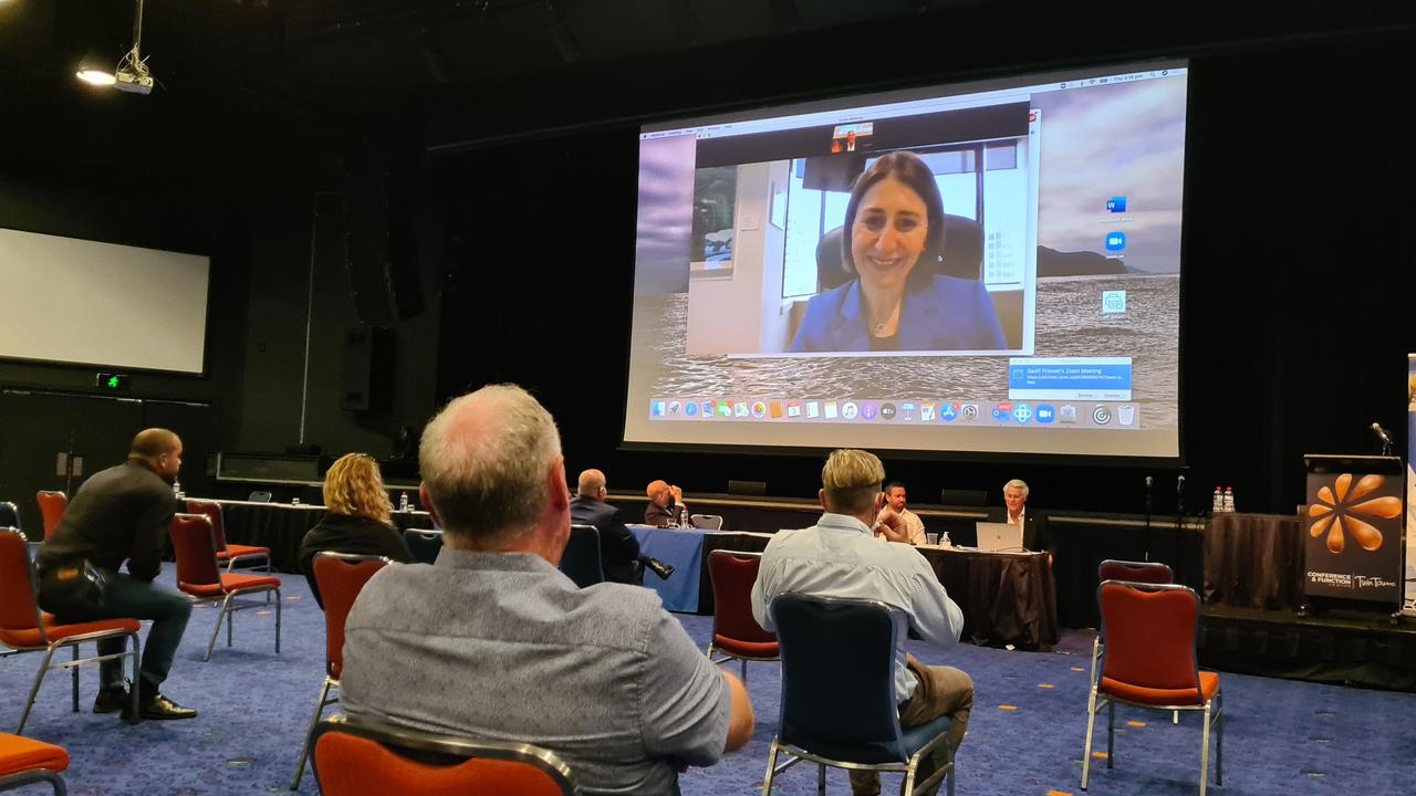 NSW Premier Gladys Berejiklian addresses the 150-strong crowd at the Master Builders Association Cross Border conference on Thursday afternoon at Tweed's Twin Towns. Photo: Jessica Lamb