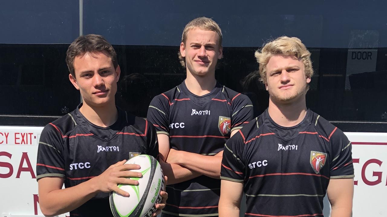St Teresa's Catholic College First XV players Ethan Pohlner, Leo Langbridge and Christian Vidic.