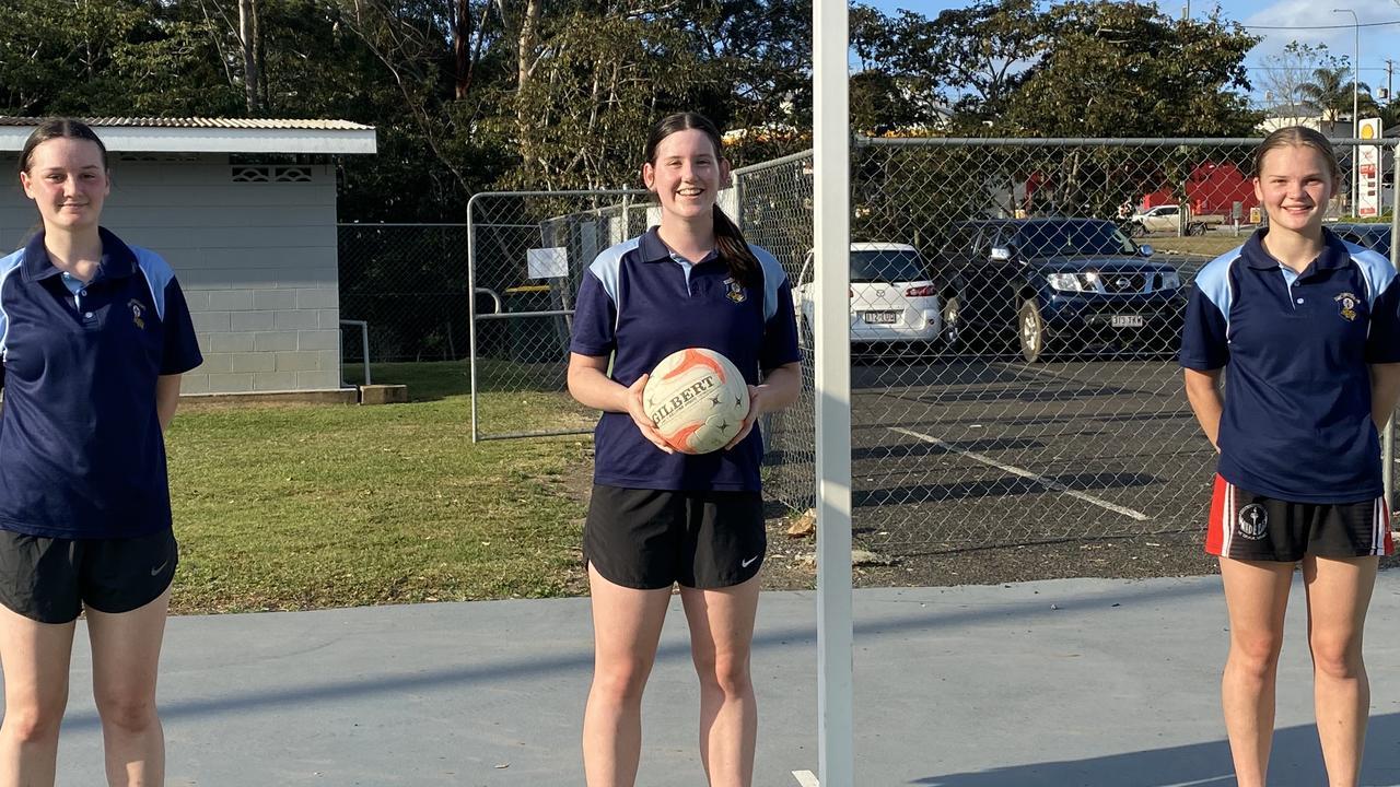 Matilda Gook, Lauren Cartwright, Hannah Ward were chosen to play for the Under 15 Wide Bay netball team in the Queensland finals last weekend.