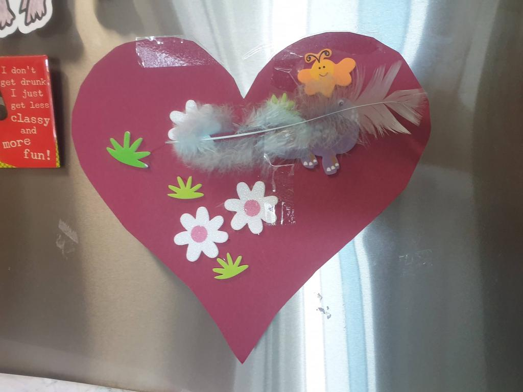 A heart made for nurse Laura Ursell by a 4-year-old boy whose baby sister was being cared for in Ward 9B. The heart is displayed proudly on Laura's fridge. Picture: Supplied