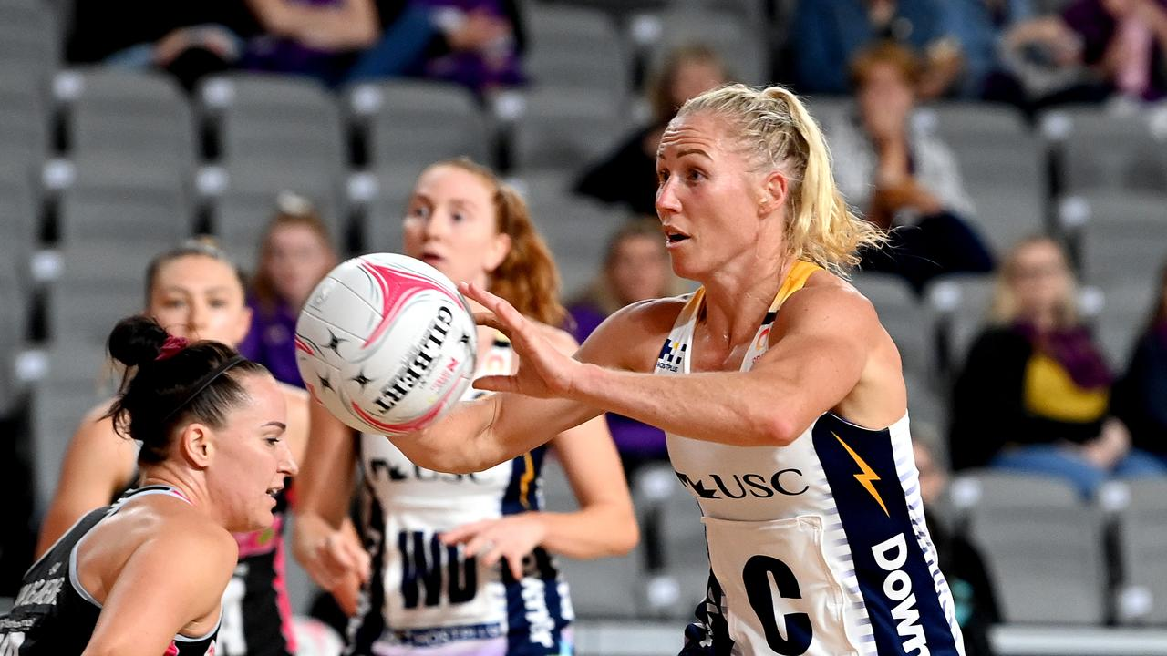 Laura Langman of the Lightning passes the ball during the round nine Super Netball match against Adelaide Thunderbird. Picture: Bradley Kanaris/Getty Images