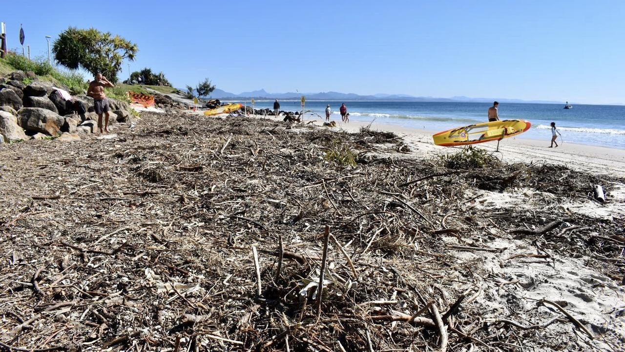 Byron Bay's Main beach and Clarkes beach showing the effects of coastal erosion after high tides in August.