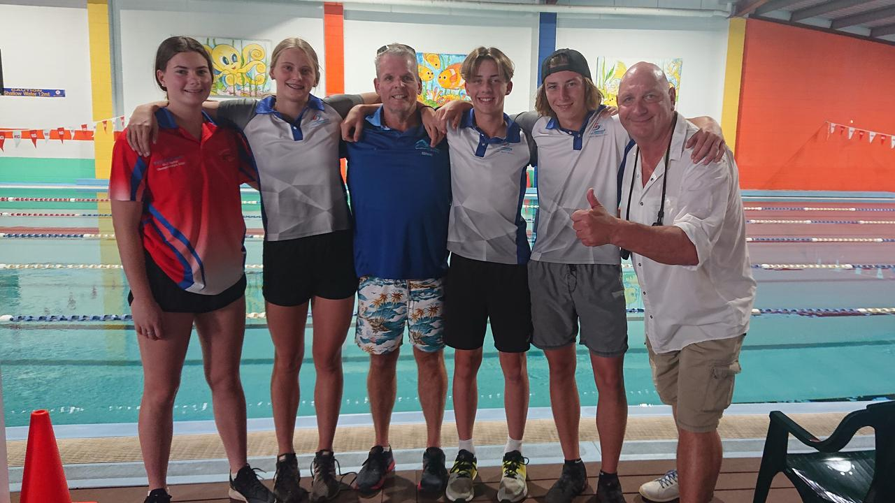 Cannonvale Cannons swimmers who attended the level 2 and 3 clinic (from left) Kate McDonald, Mikhaila Flint, coach Ken Crittenden, Jy Parkinson, Jacob Dewis and Swimming Queensland coach Barry Prime. Photo: Contributed