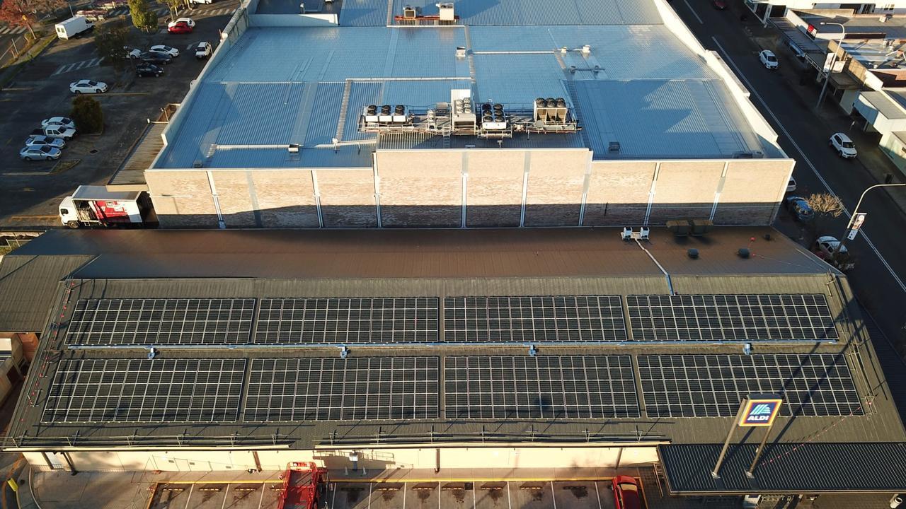 SOLAR POWER: ALDI Nowra with solar panels.