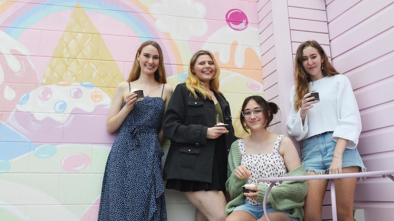 I SCREAM FOR ICE-CREAM: Sophie Goldsworthy, Li-Lu Seaborne, Calissa Alder, and Stephanie Cussen all enjoy ice cream at the newly opened gelato store.