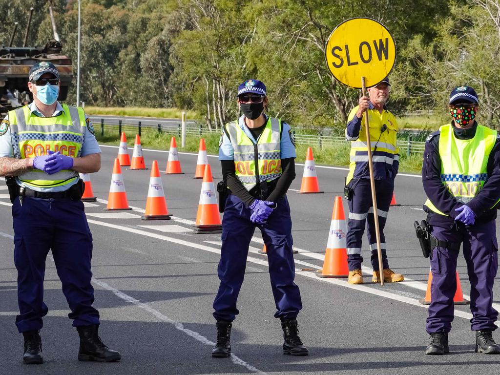 NSW Police say the man tried bribing an officer at the checkpoint. Picture: NCA NewsWire / Simon Dallinger