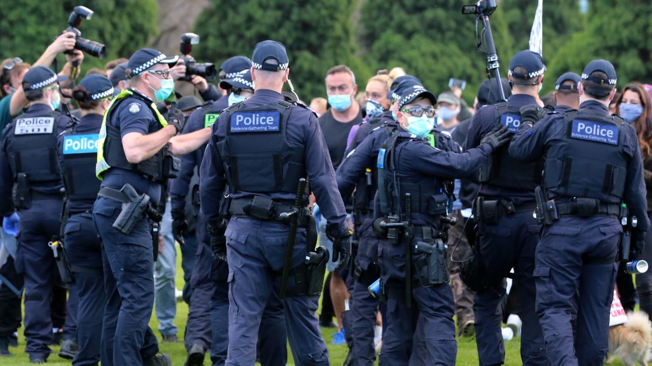 Hundreds of police attended the scene. Picture: Matrix Media