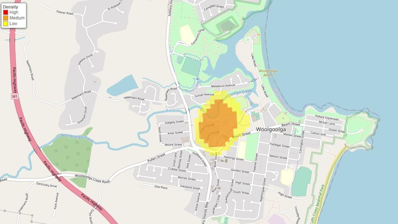 Some streets in Woolgolga were identified as 'hotspots' for break-ins between July 2019 - June 2020.