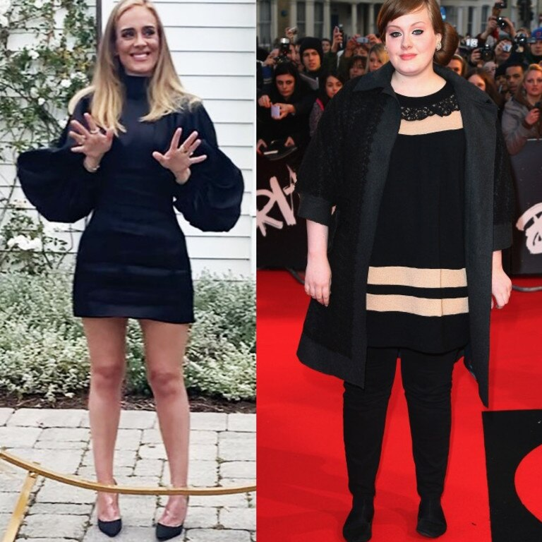 Adele in 2020 and before in 2008. Picture: Instagram/Getty Images