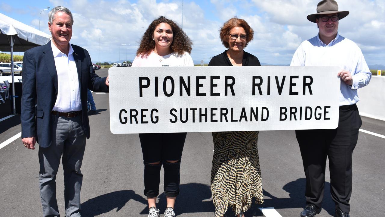 Mackay Mayor Greg Williamson, Greg Sutherland's daughter Kirsten Sutherland with Dawson MP George Christensen. Picture: Melanie Whiting