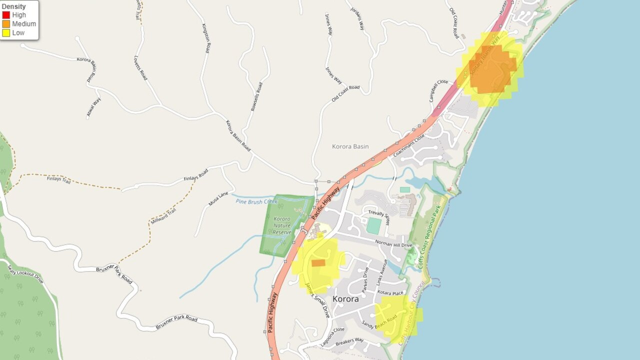 A handful of streets in Korora and Sapphire Beach were identified as 'hotspots' for break-ins between July 2019 - June 2020.