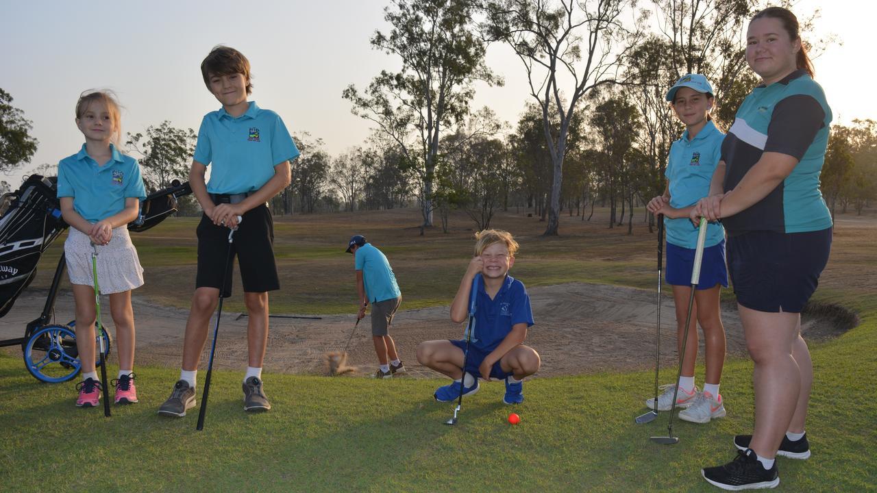 CHIPPING AWAY: BITS Golf Club junior captain Brock Taylor 17 chips the ball onto the green as Lyla Goodenham 7, Aidan Goodenham 9, Aiden Gaffey 7, Kristie Taylor 9 and Hope Gaffey 16 look on.