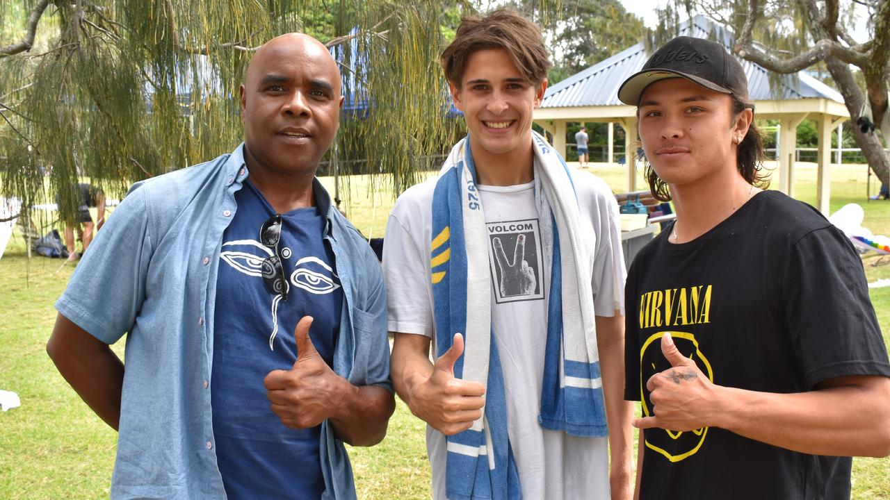 Donald Shakes of Shakes Yoga, Harrison Vale and Austin Humphreys at the Blokes Prosper event on Father's Day.