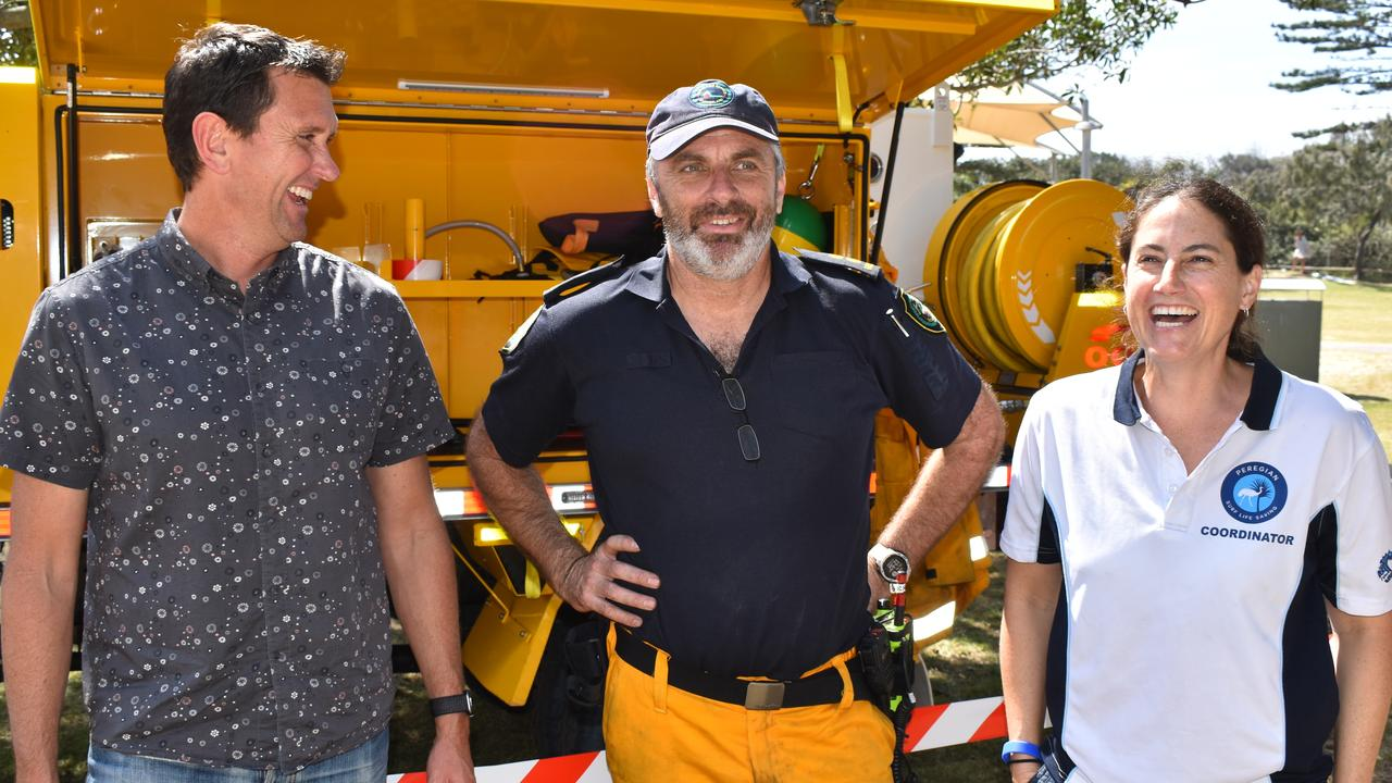 Ninderry MP Dan Purdie, Verrierdale Rural Fire Brigade first officer Matt Tinney and event organiser Leigh McCready at the Peregian Fires Anniversary Family Fun Day.