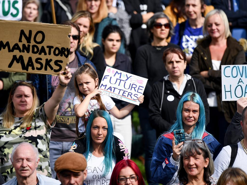 Protesters gather near the Scottish Parliament to demonstrate against a secondary lockdown and coronavirus face covering rules. Picture: Jeff J Mitchell/Getty Images